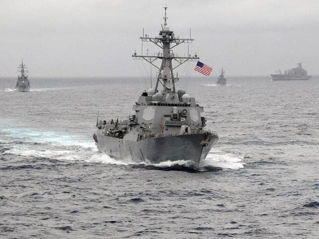 A file photo of the guided missile destroyer USS Lassen. The US Navy destroyer navigated early on October 27, 2015 within 12 nautical miles of artificial islands China is building in the South China Sea.