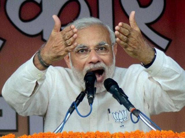 PM Narendra Modi addressing an election rally in Sitamarhi on Tuesday.