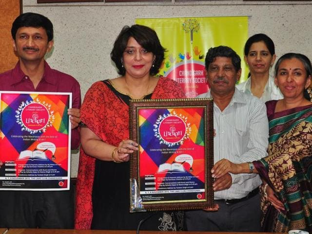 The Literati 2015 poster being released at Haryana Panchayat Bhawan in Sector 28, Chandigarh, on Tuesday.