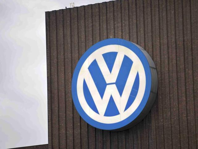 The Volkswagen logo is seen at a power plant in Wolfsburg, Germany.