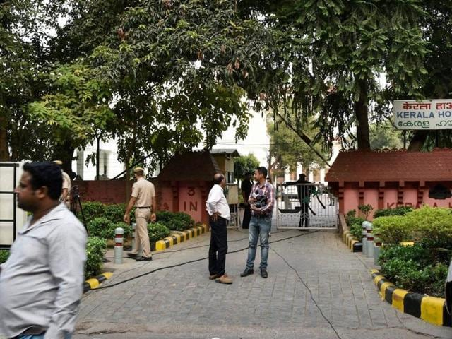 New Delhi: Kerala MPs stage protest outside Kerala House over beef controversy in New Delhi on Tuesday.