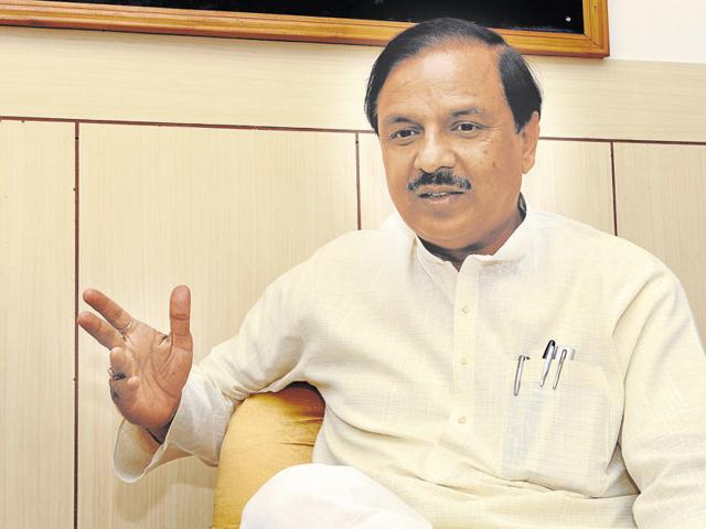 Union minister Mahesh Sharma speaks during an interview with Hindustan Times at his office, in Noida.