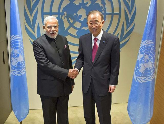 Prime Minister Narendra Modi with UN secretary general Ban Ki moon during the 69th United Nations General Assembly.