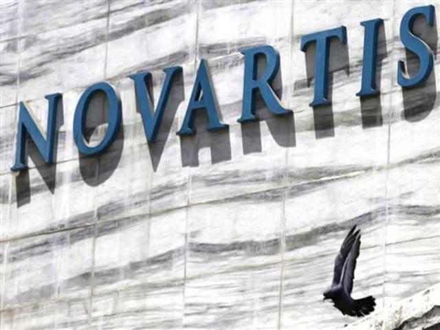 Logo of Novartis India Limited at their head office in Mumbai, India .
