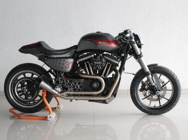 Biker Saurab Shirke's Harley Davidson 48, a sports bike was customised to suit long-distance travels