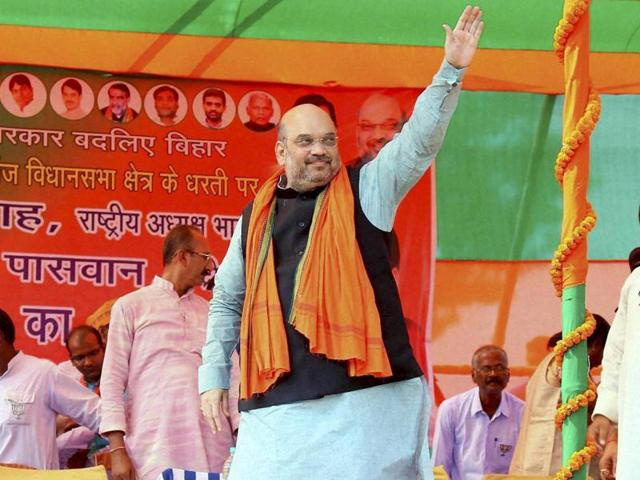 BJP president Amit Shah addressing a rally, in Kurhani.
