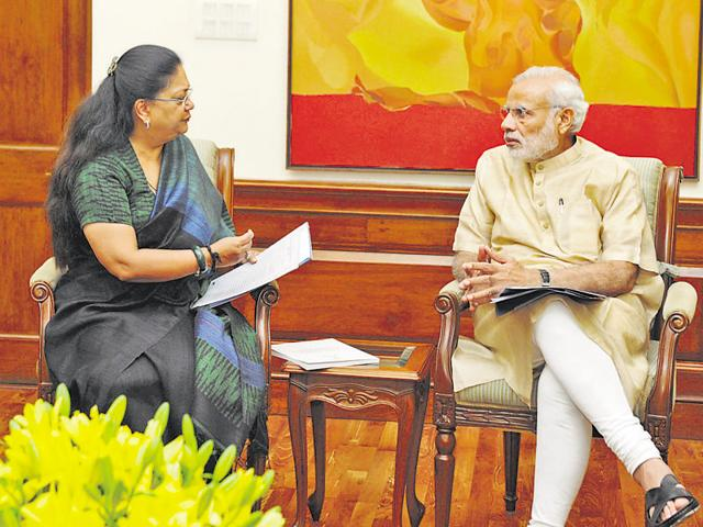 Chief minister Vasundhara Raje meets Prime Minister Narendra Modi in Delhi.