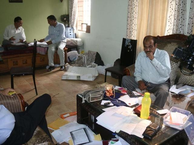 Lokayukta officials conducting search at the residence of MANIT professor Rishi Kumar Singh in Bhopal on Thursday.