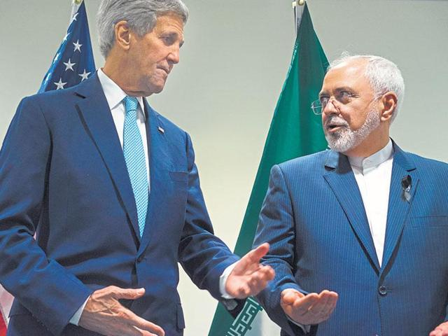 US secretary of state John Kerry (L) with Iranian foreign minister Mohammad Javad Zarif at United Nations headquarters earlier this year.