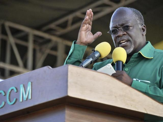 File photo of John Magufuli of Tanzania's  ruling Chama Cha Mapinduzi (CCM) party speaking  at an election rally in Dar es Salaam. Tanzania's election commission declared Thursday, Oct. 29, 2015 that Magufuli  was the winner of the country's presidential election.