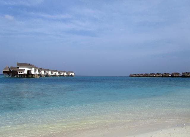 A luxurious resort in the Maldives' south Atol region.