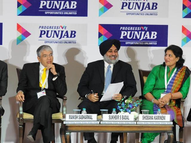 Punjab deupty CM Sukhbir Singh Badal with executive vice-chairperson Apollo Hospital Shobana Kamineni at the Progressive Punjab Investors Summit 2015 in SAS Nagar.