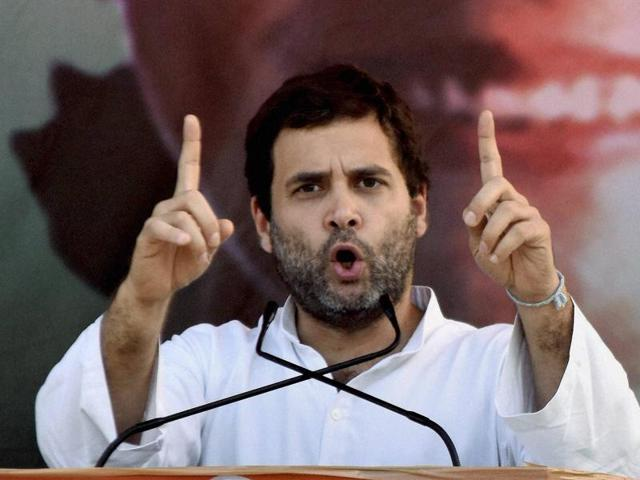 Congress Vice President Rahul Gandhi at an election rally in Areraj, Bihar.