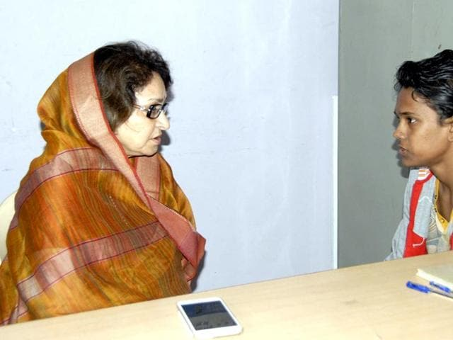 Women and child development minister Maya Singh with Mohammad Ramzan in Bhopal on Thursday.
