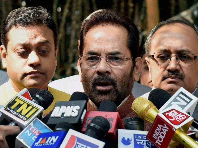 BJP leader and MOS for Minority Affairs Mukhtar Abbas Naqvi talking to media after a meet with Election Commissioner at Nirvachan Bhavan in New Delhi on Friday.