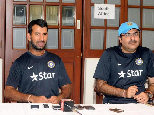 Board President XI Captain Cheteshwar Pujara with teammates practicing in Mumbai on Thursday.