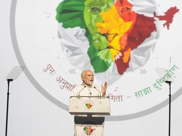 Prime Minister Narendra Modi addressing the India Africa Forum Summit, at Indira Gandhi Sports Complex, in New Delhi.