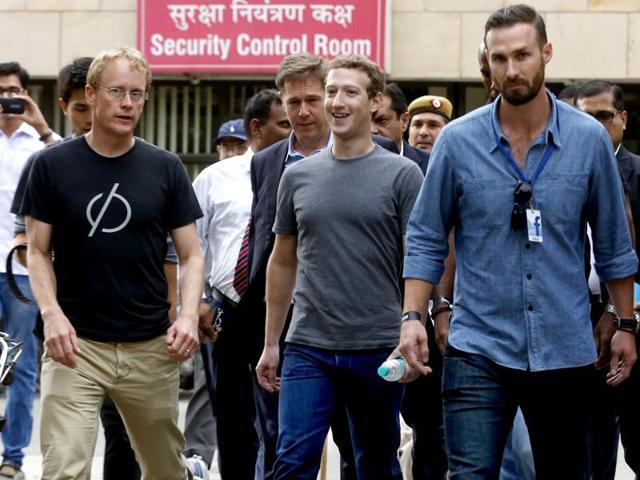 Facebook chairman and chief executive officer Mark Zuckerberg at IIT Delhi, in New Delhi.