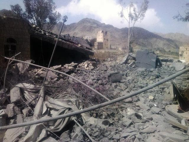 In this file photo released by Médecins Sans Frontières, the aftermath of an airstrike on a hospital in Saada province, Yemen is visible. Russian airstrikes have reportedly hit at least a half dozen medical facilities in Syria, according to activists.