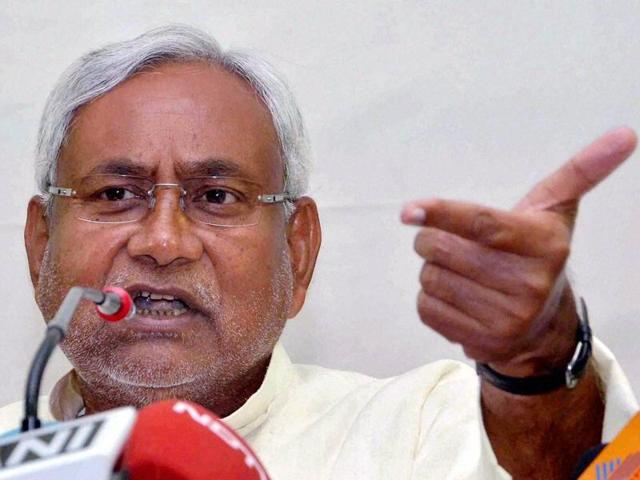 Bihar Chief Minister Nitish Kumar addressing a press conference at JD(U) office in Patna.