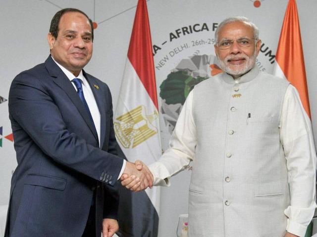Prime Minister Narendra Modi in a meeting with the President of Egypt Abdel Fattah Al-Sisi, on the sidelines of the 3rd India-Africa Forum Summit 2015 in New Delhi on Thursday.