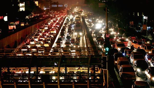 The clogged Ring Road, near Moolchand Flyover, on Thursday evening.