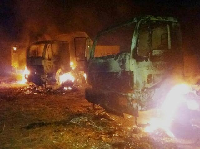 Armed Maoists torched 29 heavy vehicles close to Chargaon mines in Kanker district, south Chhattisgarh.