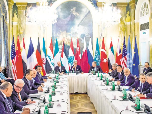 Leaders of 18 nations, including US, Iran and Russia, along with representatives from the European Union and United Nations discuss Syria in Vienna, Austria, on Friday.