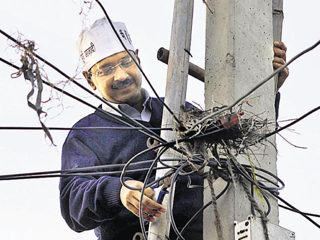 Chief minister Arvind Kejriwal during the protests against high power tariff in February 2013.