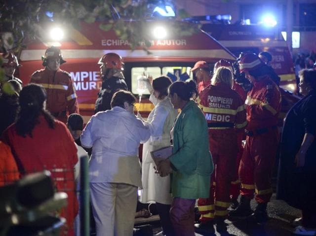 Emergency services workers launched rescue operation after a fire broke out at  a nightclub in Bucharest.