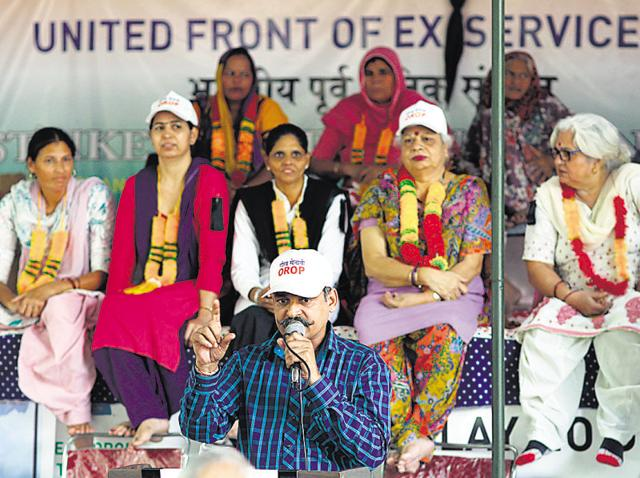 Although the protest is now low-key, ex-servicemen continue with their agitation for the implementation of OROP at Jantar Mantar in New Delhi.
