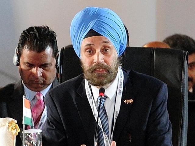 Navtej Sarna addresses delegates during the Third India–Africa Forum Summit at the Indira Gandhi stadium in New Delhi.