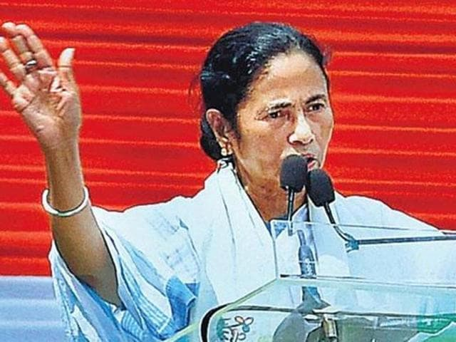 West Bengal chief minister Mamata Banerjee addresses a rally in Kolkata.