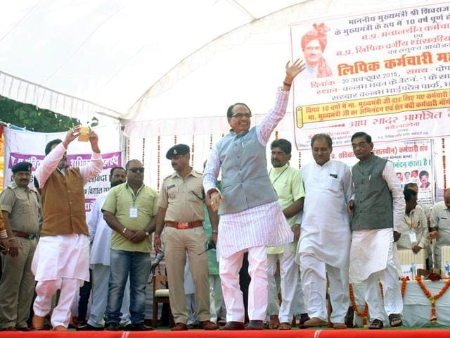 Chief minister Shivraj Singh Chouhan during a mahapanchayat of the Mantralaya's clerical staff in Bhopal on Friday.