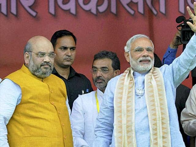 Prime Minister Narendra Modi with BJP president Amit Shah at a rally in Gaya.