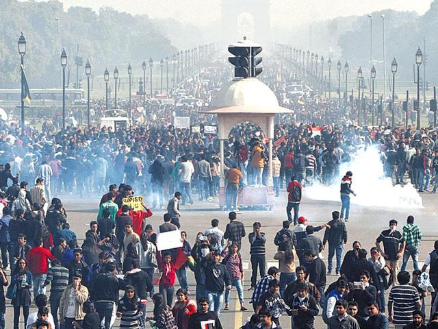 People protest in Delhi after the December 16 gang-rape which reignited the debate over juvenile crimes.