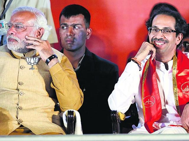 File photo of Prime Minister Narendra Modi with Shiv Sena chief Uddhav Thackeray during a rally in Mumbai.
