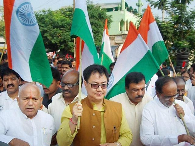 Union minister of state for home affairs, Kiren Rijiju along with Telengana BJP president G Kishan Reddy participates in