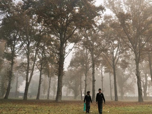 Kashmiri children cover themselves with warm clothes as they are on the way to their school on a cold and foggy morning on the outskirts of Srinagar.