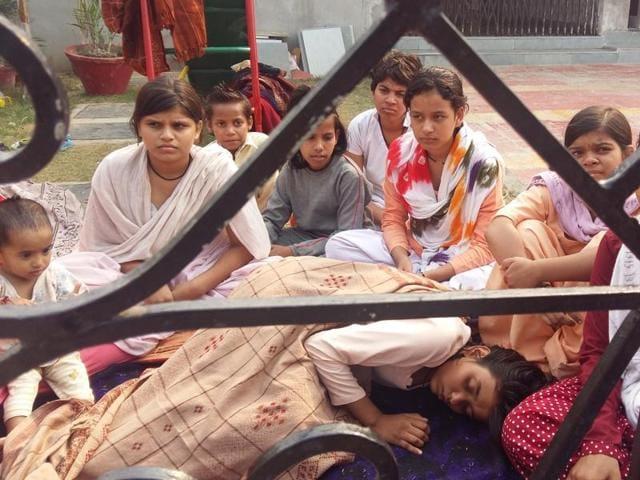 Orphan girls on hunger strike outside a shelter home in Hisar.