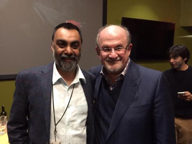 Writer Khushwant Singh with author Salman Rushdie.
