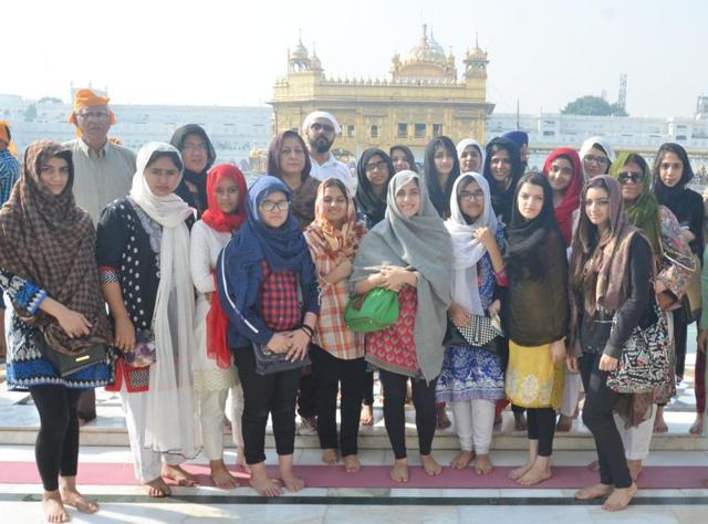 A 280-member group undertook a five-day trip to Chandigarh. The students paid obeisance at the Golden Temple here on Sunday and then left for Lahore through the Wagah border.