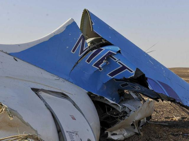 The remains of a Russian airliner which crashed is seen in central Sinai near El Arish city, north Egypt.
