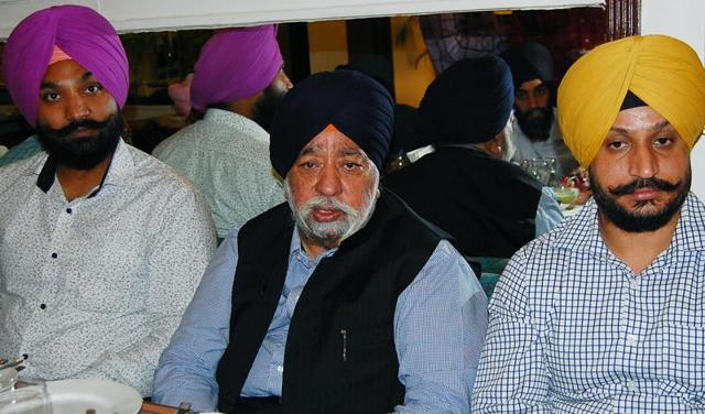 DSGMC chief Paramjit Sarna (centre) addressing a press conference in Amritsar on Sunday.
