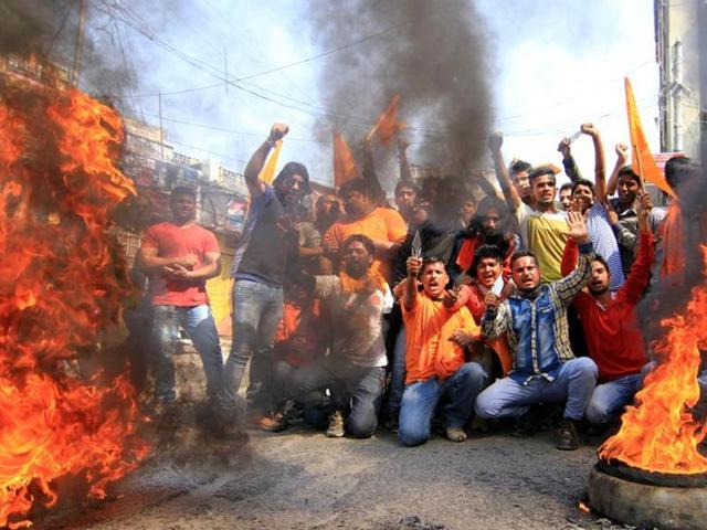 File photo of Bajrang Dal activists protesting cow slaughter in Jammu.(Nitin Kanotra/HT Photo)
