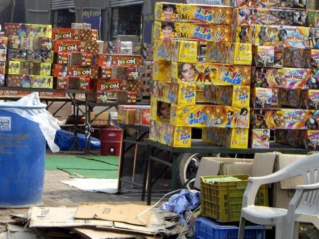 Crackers on sale in Ludhiana on Sunday.