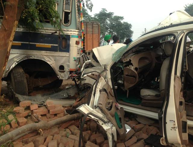Mangled remains of the SUV after the accident in Samrala in which five of a family lost their lives.