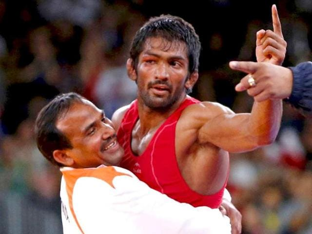 A file photo of Yogeshwar Dutt after winning the bronze medal in the men's 60kg freestyle wrestling during the 2012 London Olympic Games.