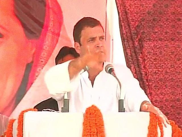 Congress vice-president Rahul Gandhi addresses an election rally in Araria.