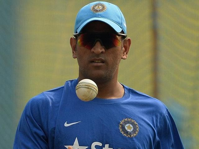 India's captain Mahendra Singh Dhoni during a training session on the eve of the fifth ODI against South Africa in Mumbai on October 24, 2015.